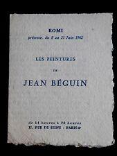 Peintures de JEAN BÉGUIN carton expo. Gal. ROMI Paris 1962 Robert Miquel Lille