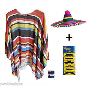 Mexican Poncho & Rainbow Sombrero Hat Party Fancy Dress Up Costume Wild West
