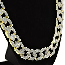 "Mens Frosted Hip Hop Chain Squared Links Gold Finish 15MM x 30"" Glitter Necklace"