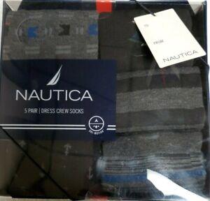 NAUTICA MEN'S 5 PAIRS DRESS CREW SOCKS SIZE 10-13 NEW IN PACK NWT