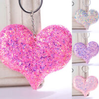 Car Jewelry Sequins Keychain Bag Accessories Heart Keyrings Handbag Pendant Cute