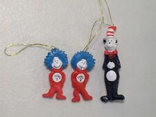 NWOB LOT OF 3 DR SEUSS CAT IN THE HAT MINI CHRISTMAS ORNAMENTS THING 1 THING 2