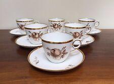 Royal Copenhagen BROWN ROSE Flat Cup & Saucer Set #688 -9070 ~ Set of 6