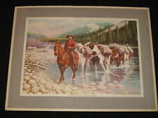 QUIGLEY VINTAGE 1954 WESTERN ART PRINT COWBOYS HORSES MONTANA INTERSTATE TRACTOR