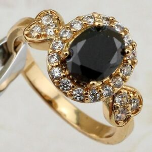 Size 5.5 6.5 7.5 8.5 Gorgeous Black CZ Gems Jewelry Rose Gold Filled Ring R2302