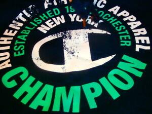 Legendary Champion NEW YORK NYC NAVY HOOD HOODIE HOODY FLEECE MEN M