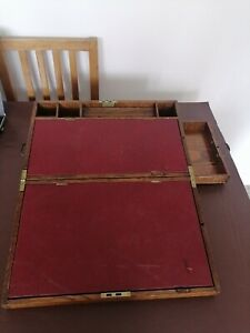 VICTORIAN OAK WRITING SLOPE WITH WORKING LOCK & KEY