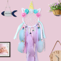Handwoven Unicorn Dream Catcher Kids Birthday Gifts Bedroom Wall Hanging Decor