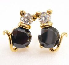 Mignon Kitty Chat Clou Boucles Noir Zircon Transparent Cristal or Jaune Plaqué