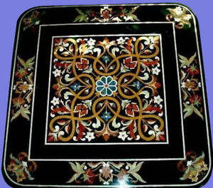 4' black marble table top dining center inlay lapis mosaic home decor handmade