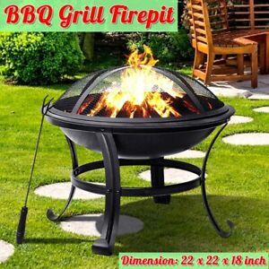 Feuerschale 3 in 1 Grill + Schürhaken Feuerstelle Garten Feuerkorb BBQ Grillrost