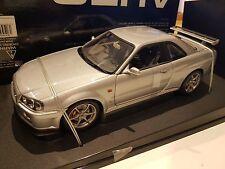 NEW AutoArt 1/18 Nissan Skyline R34 GT-R GTR 1999 TITANIUM SILVER 77302