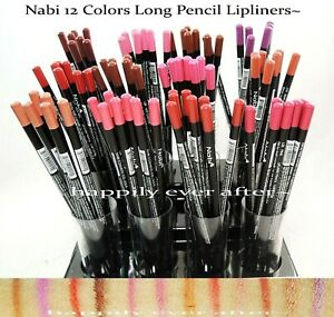 Nabi Long Pencil Lip Liner Set - Burgundy, Pink, Brown, Red... Set of 12 PCs