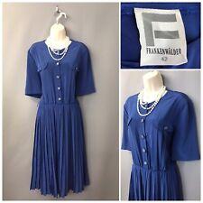 Vintage Frankenwalder Blue Pleated Dress UK 14 EUR 42