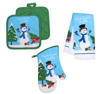 Kitchen Linen Set Towel Potholder Oven Mitt Snowman Christmas Tree Cane 4 Pc