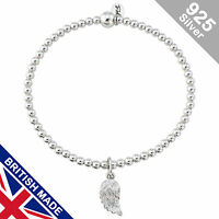 Trink Angel Wing Charm Sterling Silver Beaded Bracelet Elastic Feathers