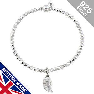 Trink Angel Wing Charm Sterling Silver Beaded Bracelet Elastic Feathers