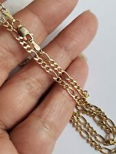 Real 14k yellow gold figaro chain necklace 2 mm 20 inches long diamond cut