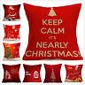 Christmas Cotton Linen Pillow Case Santa Cushion Cover Sofa Home Bed  Decor 17''