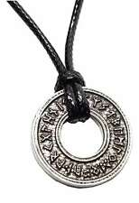Viking Rune Wheel Pendant Heathen Ring Runic Circle Norse Celtic Cord Necklace
