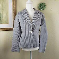 Talbots Seersucker Blue White Stripe Jacket Light Coat Womens Size 6