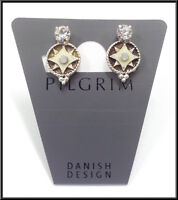 NEW PILGRIM SILVER PLATED EARRINGS SWAROVSKI CRYSTALS STARS COLLECTION VINTAGE