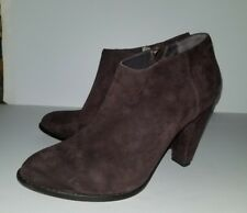 Elizabeth and James brown suede chunky heel zip bootie boots. 9.5
