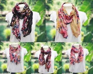 Floral Fashion Scarf Crinkle Fabric Pink Plum Brown Grey Black Light Weight Sml