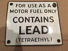VINTAGE GAS PUMP STATION PORCELAIN SIGN CONTAINS LEAD TETRAETHYL MOTOR FUEL
