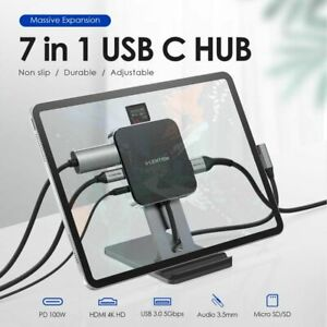 USB C Hub with 4K HDMI PD Charging SD Micro SD Reader USB 3.0 3.5mm Jack Tab S4