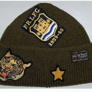 POLO RALPH LAUREN Mens Wool Patch Beanie Hat TIGER Skull Watch Cap Upcycle OLIVE