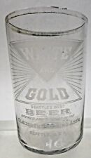 rare Pre-Prohibition Claussen Brewing White Gold Seattle acid etched beer glass