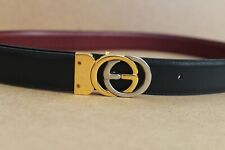 GUCCI Black Leather Two-tone GG Logo Buckle Vintage Belt