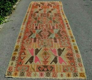 Turkish Kilim Area Rug Traditional Handmade Vintage Anatolian Wool Rug 4x11 ft.