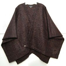 NEW Eskandar BROWN Wool Mohair Boucle Check Cross Over Wrap Poncho (1) $1250