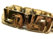 GIANNI VERSACE VINTAGE '90s GREEK KEY BRACELET MEN MEDUSA GOLD THICK ITALY