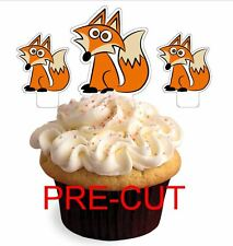 CUTE FOX X24 edible stand up cup cake toppers wafer paper cut