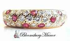 Vintage Cartier 1990s Ruby & Diamond Pave Dome Bombe Mimi Ring in 18k Gold Sz 50