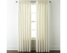 JCPenney Home Supreme Pinch-Pleat Back-tab ONE Curtain Panel Cream 75W x 84L