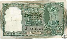 "INDIA RS 5 RAMA RAU C-1 ALL ENGLISH IN FRONT VF 3 DEER PLAIN INSET PREFIX ""B"""