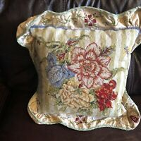 "19"" NeedlePoint-PetitPoint Pillow Cushion Sham Embroidered Flowers Green Yellow"