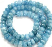 "Rare 5x8mm Blue Faceted Aquamarine Gemstone Abacus Loose Beads 15"" AAA"