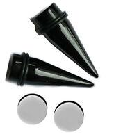 7/16 11mm Black Tapers White Single Flare Plugs Ear Stretching Gauging Kit gauge