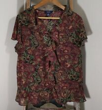 Chaps Sheer Dark Red Floral Top w Camisole Women's Plus Size 2X A28