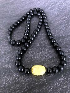Natural Baltic Amber Adult Men Necklace Handmade Black Dark Round Beads Unisex