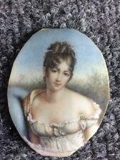 ANTIQUE FRENCH MINIATURE PORTRAIT OF WOMAN IN LINGERE? EROTIC BOSOM POSE