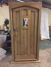 Solid Oak Gothic Door With Window, No Vat!!! Exterior Hardwood Joinery Door Only