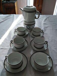 Teeservice mit Kanne Stoevchen 6 Tassen u. Untertassen von Thomas Scandic Shadow