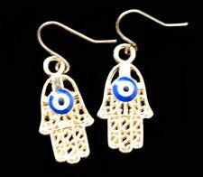Orecchini mano Fatma Ohrhaken Hamsa Dorato occhi Oriental Oro Blu orecchino