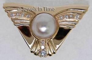 Ladies 14K Yellow Gold Pearl & Diamond Slide